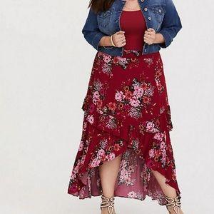 Torrid red floral hi lo skirt
